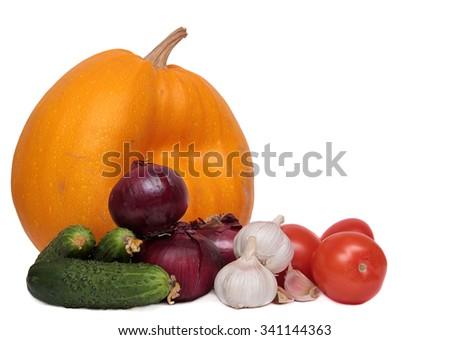 Vegetables isolated on white background. set of fruits and vegetables isolated on white background - stock photo
