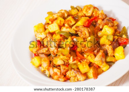 vegetables mix and chicken - stock photo