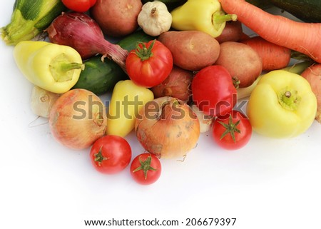 Vegetables Mixed vegetables on white background  - stock photo