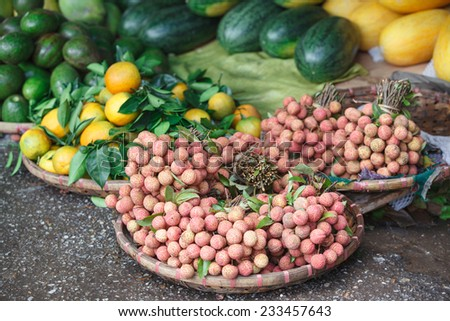 Vegetables on a market in Hue, Vietnam  - stock photo