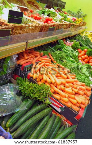 Vegetables on a market show-window - stock photo
