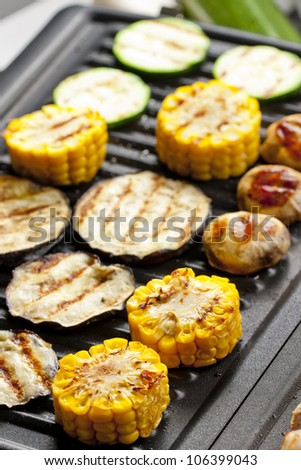vegetables on electric grill - stock photo