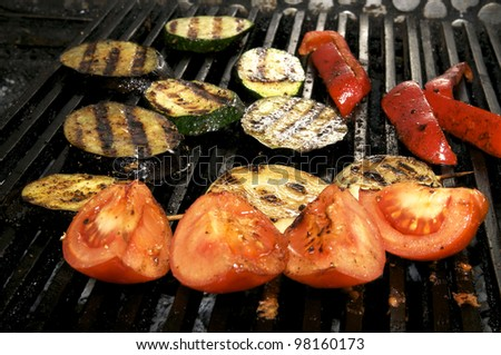 vegetables on the grill over low heat for preparing - stock photo