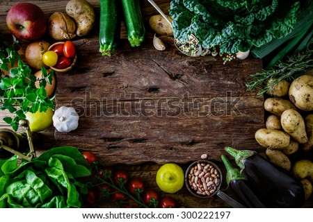 Vegetables on wood. Bio Healthy food, herbs and spices. Organic vegetables on wood - stock photo