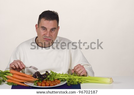 Vegetables only, a real pain of a diet - stock photo