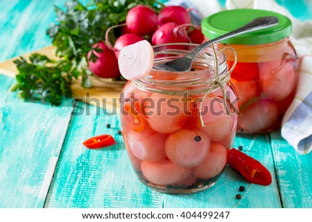 Vegetables, pickled radish and chili, with space for text. - stock photo