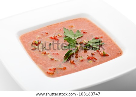 Vegetables Red Soup with Parsley - stock photo