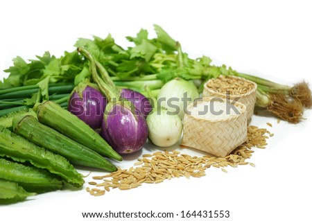 vegetables , rice isolated  - stock photo