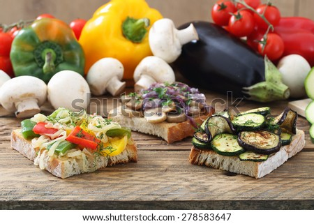 vegetables sandwich wood table - stock photo