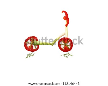 vegetables, scooter - stock photo