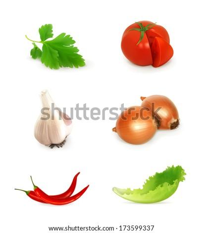 Vegetables set, bitmap copy - stock photo