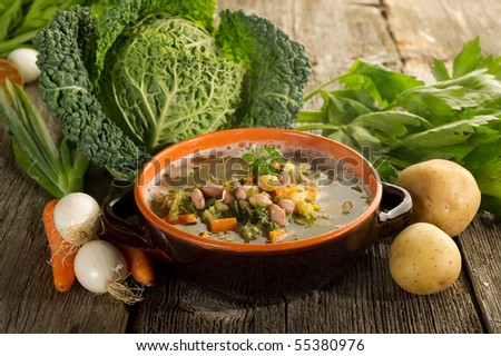 vegetables soup on bowl - stock photo