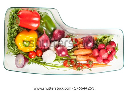 Vegetables stored in a refrigerator - stock photo
