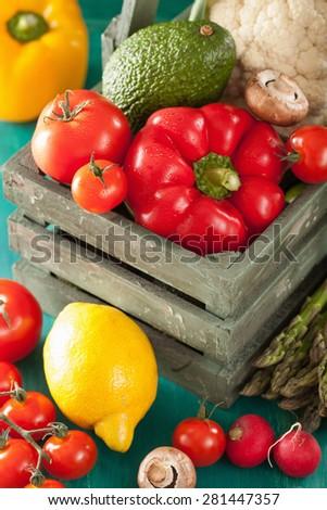 vegetables tomato pepper avocado onion cauliflower - stock photo
