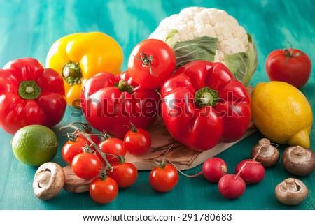 vegetables tomato pepper mushroom onion cauliflower - stock photo