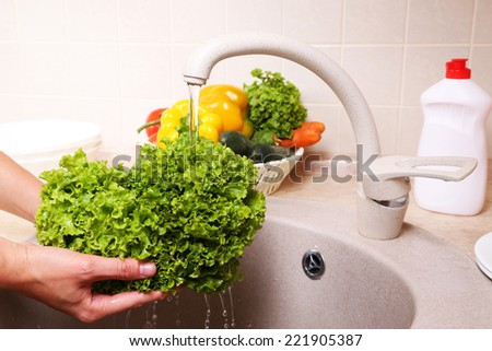 Vegetables washing in kitchen - stock photo