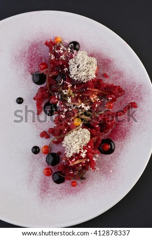 Vegetables with sauce, haute cuisine, gourmet appetizer - stock photo