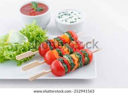 Vegetarian appetizer with dips - stock photo