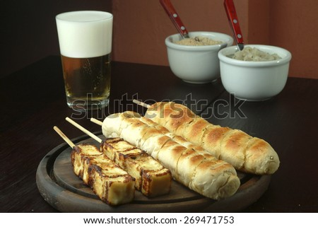 vegetarian barbecue - bread and cheese - stock photo