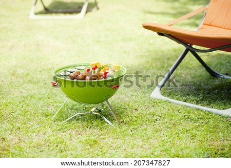 Vegetarian bbq and corncob on a grilling pan  - stock photo