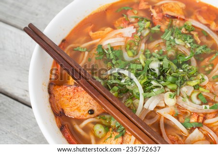 Vegetarian central Vietnamese hot and spicy soup, Bun Bo Hue chay - stock photo