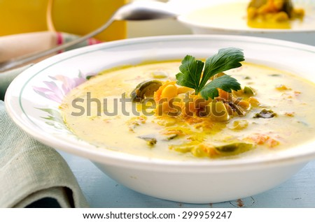 Vegetarian corn soup with brussels sprouts and other vegetables - stock photo