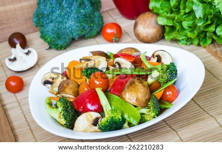 Vegetarian food, Fried vegetable with soy sauce - stock photo