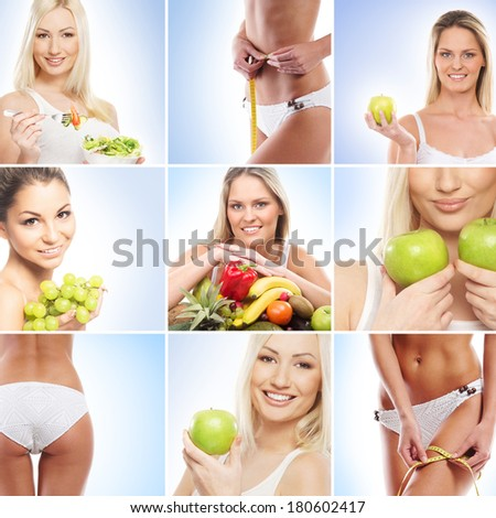 Vegetarian food, nutrition, fruits and healthy eating collage - stock photo