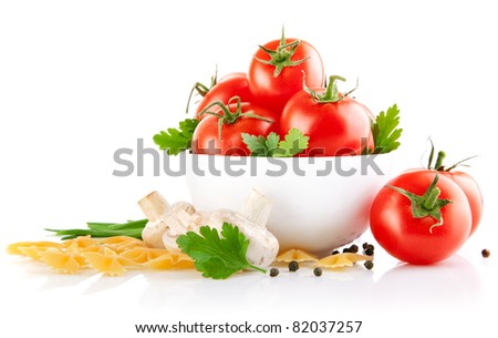 vegetarian food with tomato and champignons isolated on white background - stock photo