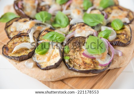 vegetarian pizza with eggplant - stock photo