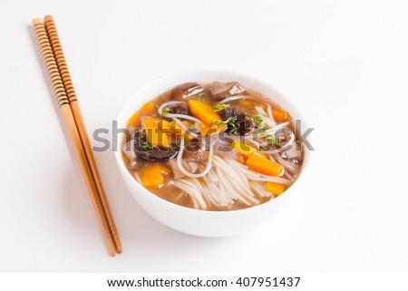Vegetarian Rice noodle soup, horizontal, close up - stock photo