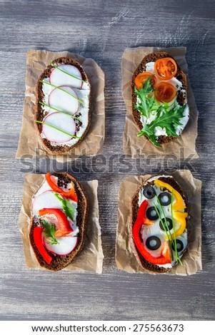 vegetarian sandwiches - stock photo