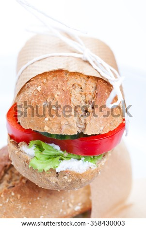 Vegetarian sandwiches with red paprika, cucumber, lettuce and cottage cheese, closeup, selective focus  - stock photo