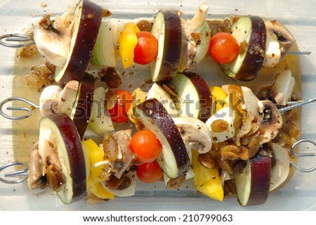 vegetarian shish-kebab prepared for cooking on barbecue - stock photo