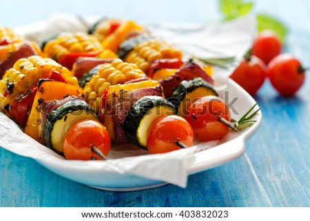 Vegetarian skewers - stock photo