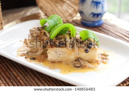 Vegetarian tofu dish Chinese style - stock photo