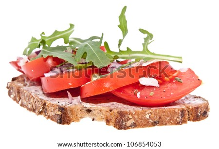 Vegetarian tomato bread with onion, cream cheese, rocket salad and Parmesan isolated on white background with clipping paths - stock photo