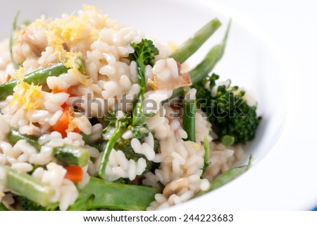 vegetatian risotto with farm fresh organic vegetables. The healthiest risotto possible - stock photo