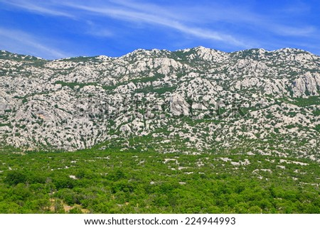 Vegetation layers on the Dalmatian coast spotted with limestone rocks and green bushes, Croatia - stock photo