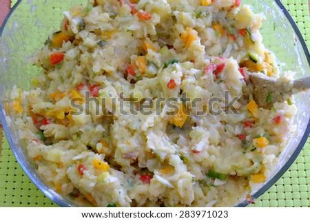 veggi potato salad 5 - stock photo