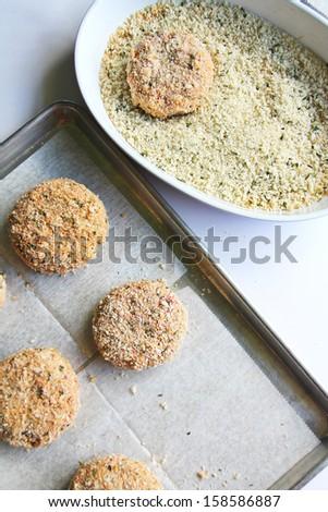 veggie burger in panko - stock photo