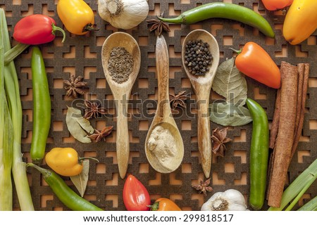 Veggies and spices. - stock photo