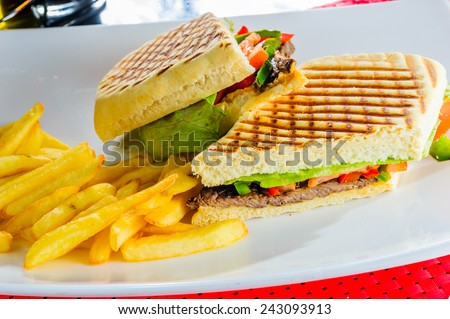 Vegitable sandwich served with french fries - stock photo