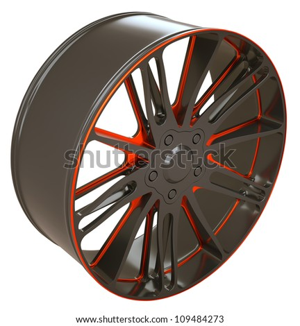 Vehicle disc or wheel isolated over white (custom rendered) - stock photo