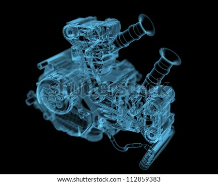 Vehicle motor (3D xray blue transparent) - stock photo
