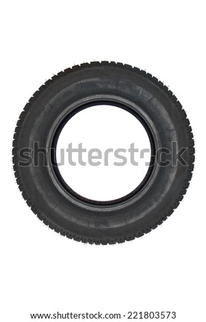 Vehicle parts - Brand new tire - Front or top view - stock photo