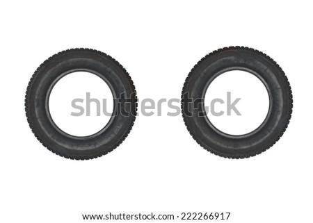 Vehicle parts - Couple tires on white background - stock photo
