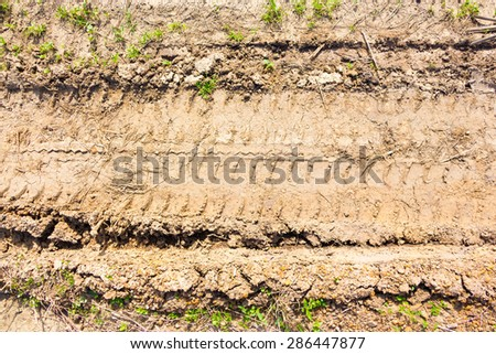 Vehicle track on dried muddy road - stock photo