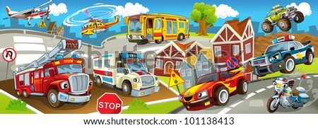 vehicles in city, urban chaos - stock photo