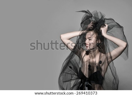 veil fashion sexy woman vogue photo red lips professional beauty model art image - stock photo